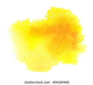 Bright yellow watercolor texture stain with watercolor paint blotch and brush strokes