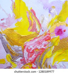 Brightabstract paintings with yellow and pink colors, vibrant