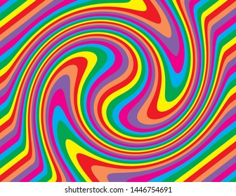 Brightly colored coloured abstract striped swirl. Groovy, psychedelic background perfect for parties and celebrations.