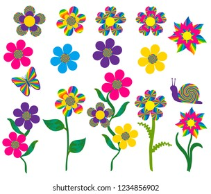 Brightly colored psychedelic cartoon flowers and a butterfly and snail. Isolated.
