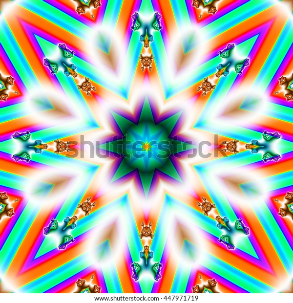 Brightly colored star shaped symmetrical fractal in turquoise and purple