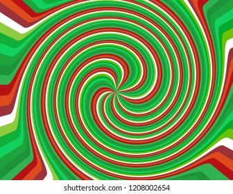 Brightly coloured abstract candy cane red, white, and green striped swirl.  Groovy, psychedelic Christmas background.