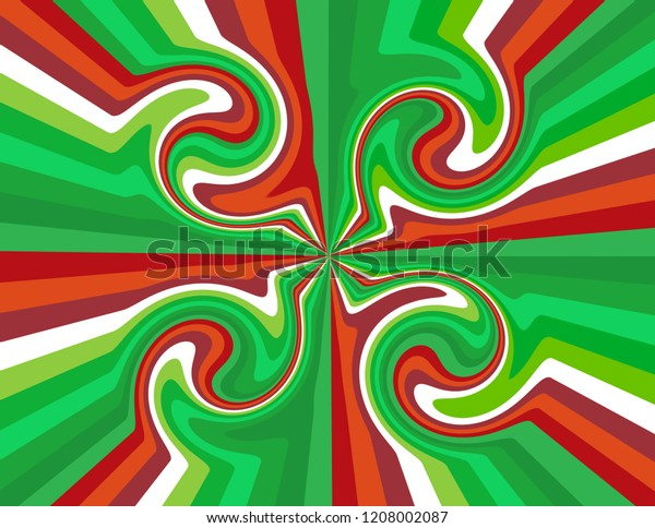 Brightly coloured abstract candy cane striped swirls in red, green and white.  Groovy, psychedelic Christmas background.