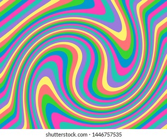Brightly coloured abstract candy striped swirl. Groovy, psychedelic background perfect for parties and celebrations.