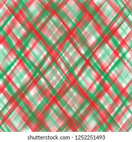 Brightly coloured abstract christmas tartan pattern in red, green, and white.  Christmas background.