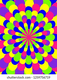 Brightly coloured abstract flower burst in neon green, pink, blue, purple, and yellow.  Groovy, psychedelic background.