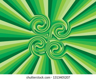 Brightly coloured abstract green striped swirls.   Groovy, psychedelic St. Patrick's Day background.