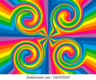 Brightly coloured abstract rainbow striped swirls.  Groovy, psychedelic background.