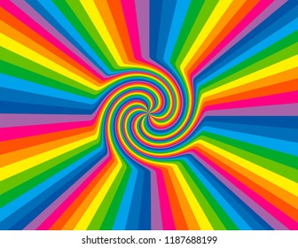 Brightly coloured abstract rainbow striped swirl inside a burst.  Groovy, psychedelic black-hole background.