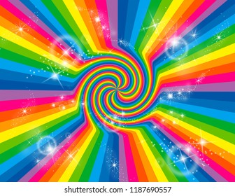 Brightly coloured abstract rainbow striped swirl with stars bursting.  Groovy, psychedelic background.