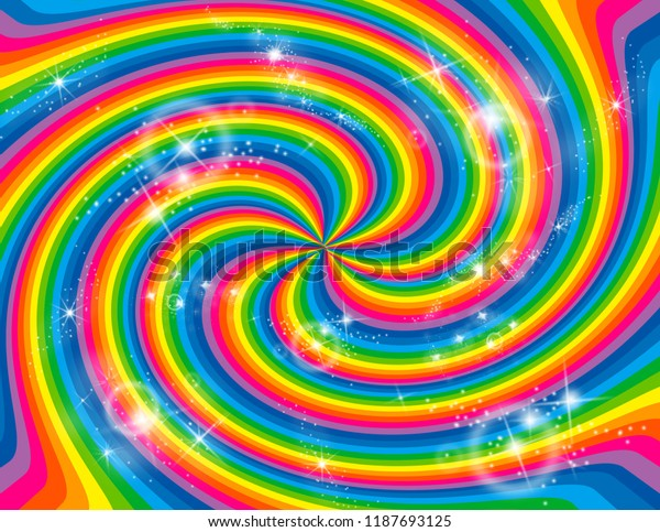 Brightly coloured abstract rainbow striped swirl with stars bursting all around.  Groovy, psychedelic background that looks like a black-hole.
