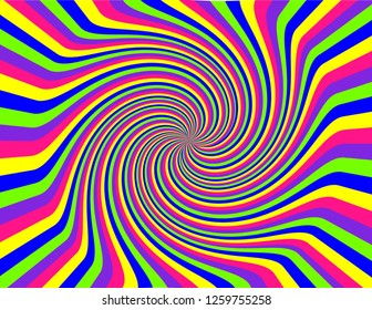 Brightly coloured abstract striped swirl inside a burst in neon green, pink, blue, purple, and yellow.  Groovy, psychedelic background.