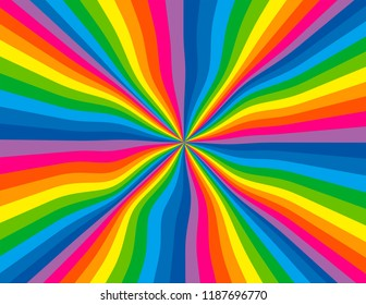 Brightly coloured abstract wavy rainbow perspective.  Groovy, psychedelic background.