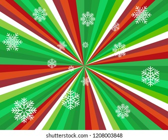 Brightly coloured candy cane perspective in green, red, and white with snowflakes.  Groovy, psychedelic christmas background.