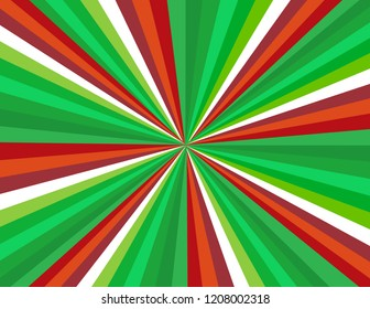 Brightly coloured candy cane stripes in red, green, and white.  Perspective with concentration lines.  Groovy, psychedelic Christmas background.