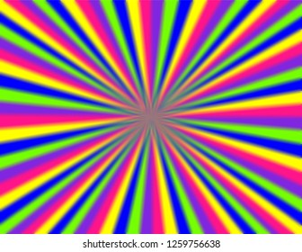Brightly coloured perspective burst with blurred edges in neon green, pink, blue, purple, and yellow.  Groovy, psychedelic background.