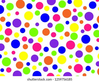 Brightly coloured polka dots in neon pink, purple, green, blue, orange and yellow.  Groovy, psychedelic, background.