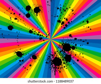Brightly coloured rainbow perspective with black paint splashes.  Groovy, psychedelic background.