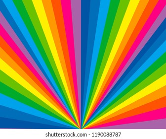 Brightly coloured rainbow perspective burst background.