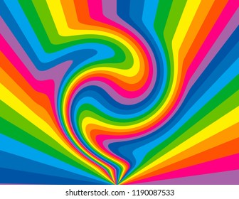 Brightly coloured rainbow perspective with swirls and waves.  Groovy, psychedelic background.