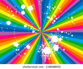 Brightly coloured rainbow perspective with white paint splashes.  Groovy, psychedelic background.