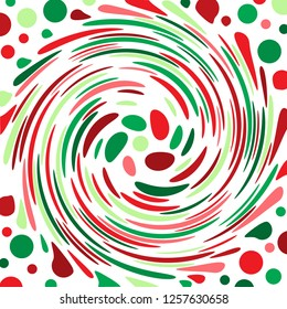 Brightly coloured red, green and white abstract polka dot concentric swirl.  Groovy, psychedelic Christmas wrapping paper background.