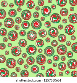 Brightly coloured red, green and white swirl polka dotss.  Groovy, psychedelic Christmas wrapping paper background.