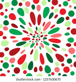 Brightly coloured red, green and white abstract polka dot perspective.  Groovy, psychedelic Christmas wrapping paper background.