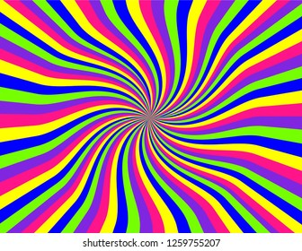 Brightly coloured striped perspective with swirls and waves in neon green, pink, blue, purple, and yellow.  Groovy, psychedelic background.