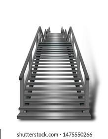 Brightly lit staircase with 3D-effect isolated on white