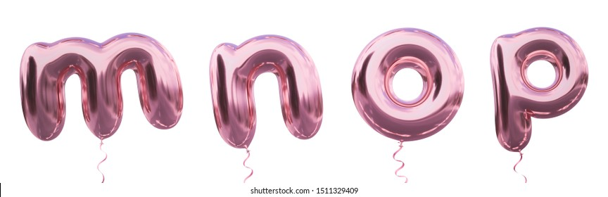 Brilliant balloon alphabet letter m, n, o, p with Pastel purple color or violet color. Realistic metallic air balloon 3d rendering with Clipping path ready to use for your trendy and stylish font set