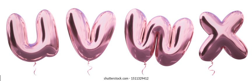 Brilliant balloon alphabet letter u, v, w, x  with Pastel purple color or violet color. Realistic metallic air balloon 3d rendering with Clipping path ready to use for your trendy and stylish font set