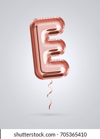 Brilliant balloon font letter E made of realistic 3d helium Copper color, pink or rose gold balloon with Clipping path ready to use. For balloon font collection ; Ceremony,Wedding,Anniversary,Birthday