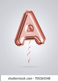 Brilliant balloon font letter A made of realistic 3d helium Copper color, pink or rose gold balloon with Clipping path ready to use. For balloon font collection ; Ceremony,Wedding,Anniversary,Birthday