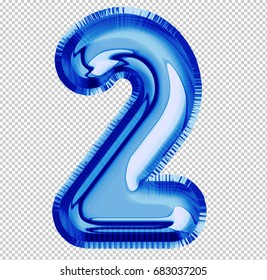 Brilliant balloon font number 2 made of realistic 3d helium blue balloon with Clipping Path ready to use. For your balloon number collectiondesign Birthday Anniversary,New year,Holiday,Any occasional
