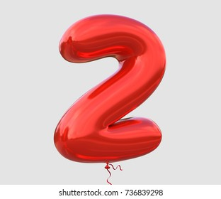 Brilliant balloon font number 2 made of realistic 3d helium red balloon with Clipping Path ready to use.For your balloon number collection design ; Birthday,Anniversary,New year,Christmas,any occasion