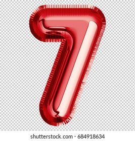 Brilliant balloon font number 7 made of realistic 3d helium red balloon with Clipping Path ready to use. For your balloon number collection design Birthday Anniversary,New year,Holiday, Any occasional