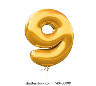 Brilliant balloon font number 9 made of realistic helium red balloon, 3d illustration with Clipping Path ready to use. For your unique balloon number decoration; Christmas,New year & several occasion