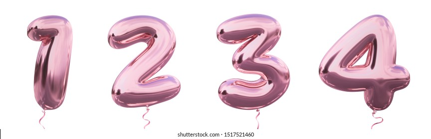 Brilliant balloon number 1, 2, 3, 4 with Pastel purple color or violet color. Realistic metallic air balloon number 3d rendering with Clipping path ready to use for your trendy and stylish font set