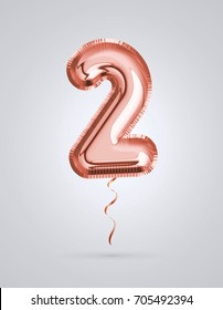 Brilliant balloon number 2 made of realistic 3d helium Copper color, pink or rose gold balloon  ready to use. For balloon font number collection Ceremony,Wedding,Anniversary,Birthday