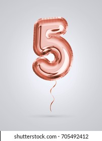 Brilliant balloon number 5 made of realistic 3d helium Copper color, pink or rose gold balloon  ready to use. For balloon font number collection Ceremony,Wedding,Anniversary,Birthday