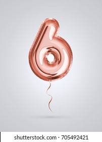 Brilliant balloon number 6 made of realistic 3d helium Copper color, pink or rose gold balloon with  ready to use. For balloon font number collection Ceremony,Wedding,Anniversary,Birthday