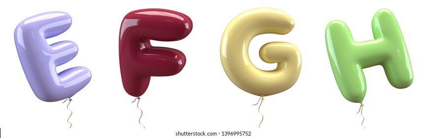 Brilliant balloons font. Alphabet letter e, f, g, h made of realistic elastic color rubber balloon. 3D illustration for your extraordinary balloon decoration in several concepts idea in many occasion