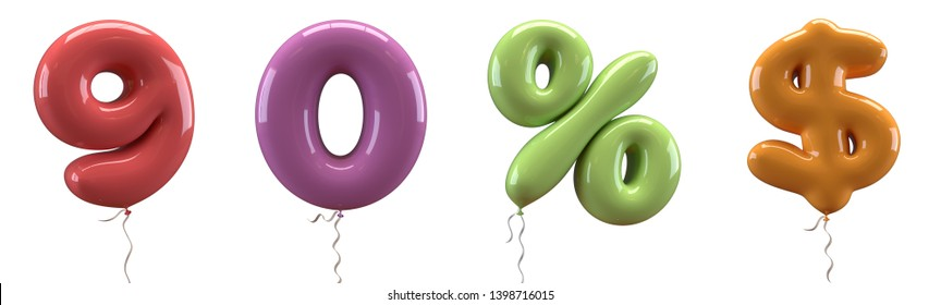 Brilliant balloons font number 9, 0, %, $ made of realistic elastic color rubber balloon. 3D illustration for your extraordinary balloon decoration in several concepts idea in many occasions