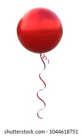 Brilliant big balloon metallic red color, made of realistic 3d illustration with Clipping Path ready to use. For your unique materials design decoration in several concept idea and any occasion.