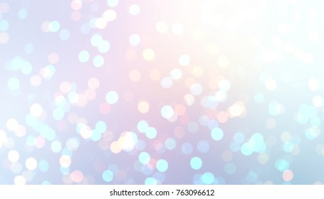Brilliant confetti. Iridescent bokeh abstract background. New Year festive texture. White, pink, blue celebration style. Glitter light illustration. Diamond sequins image. Winter holiday new trend.