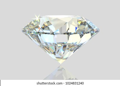 Brilliant diamond on white glossy background, standing on its point. Close-up side view. 3D rendering illustration