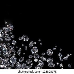 Brilliant diamond scattered  on black background