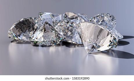 Brilliant diamonds closeup - 3D Illustration