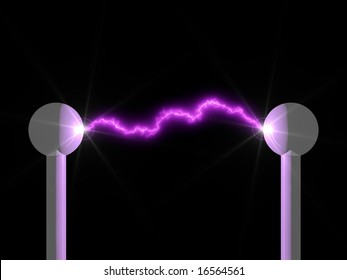 Brilliant electric arc in a science laboratory isolated on black